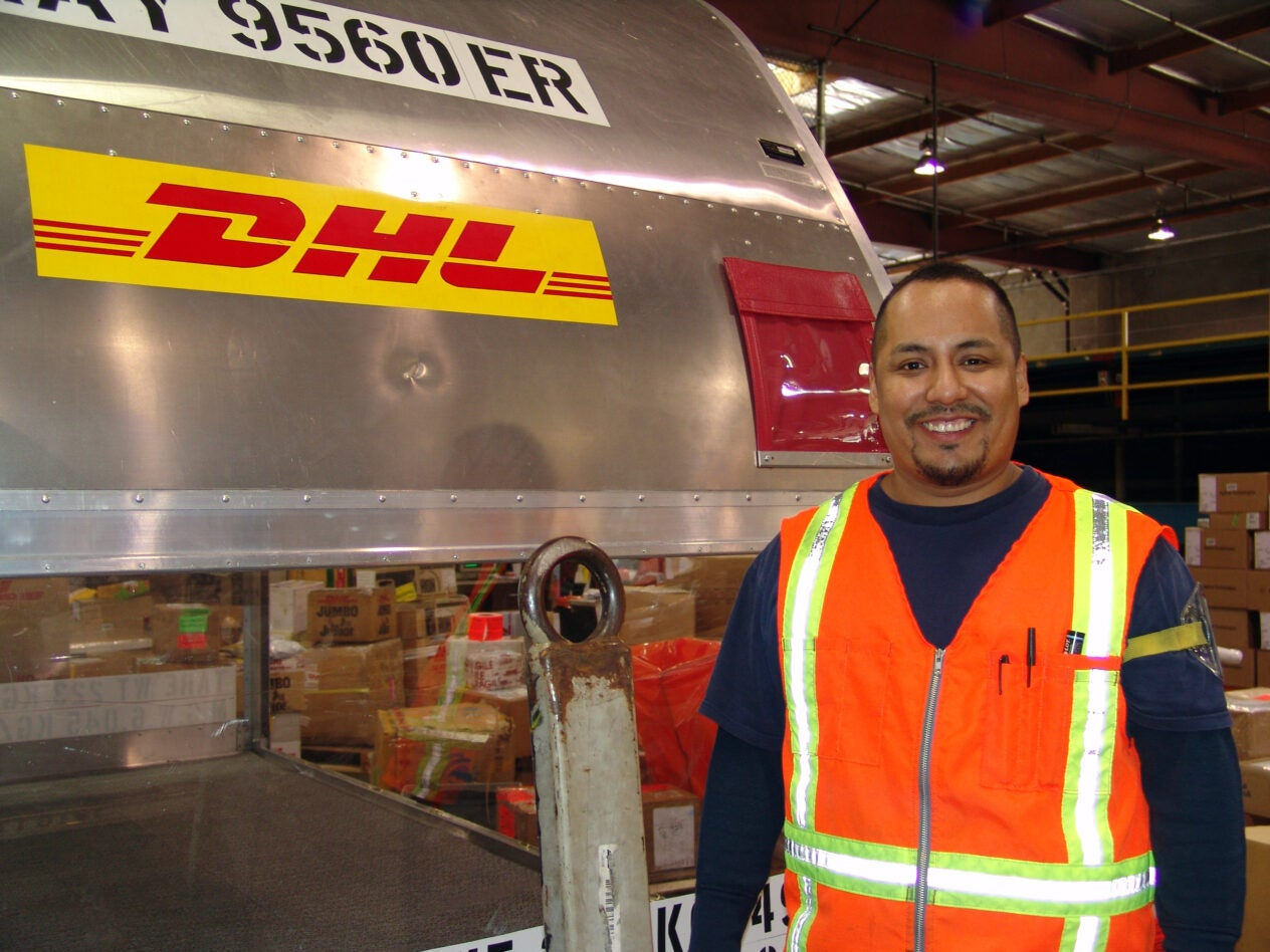 Javier Castaneda.  Local 986 members with DHL at the LAX airport - Los Angeles
