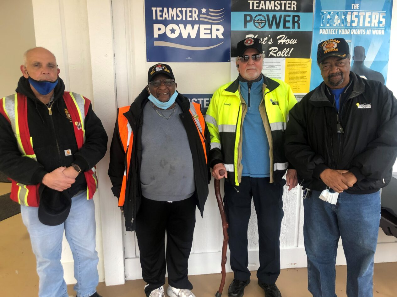 Teamsters Local 777 Members and veterans - from left to right: John Blanchford, Ray Williams, Gerald Marshall, Willie Lesure