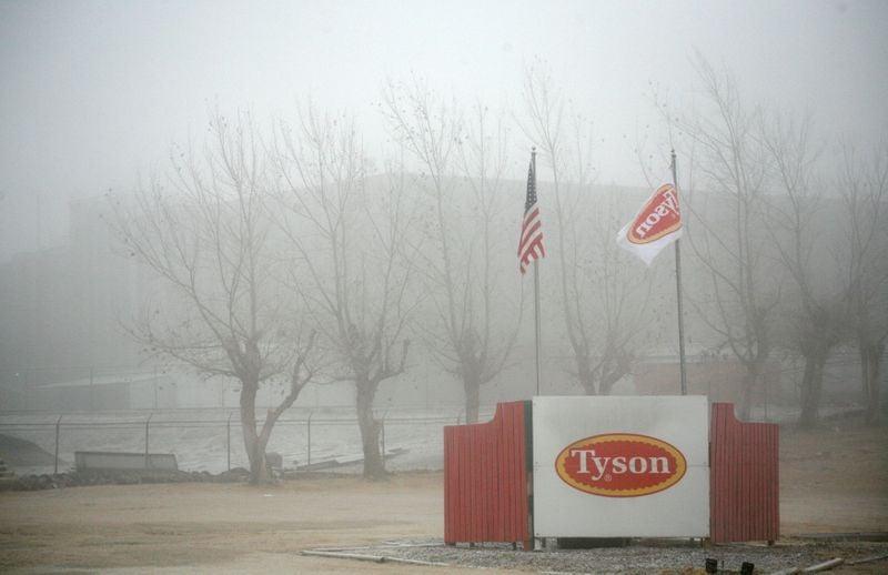 FILE PHOTO: Fog shrouds the Tyson slaughterhouse in Burbank, Washington