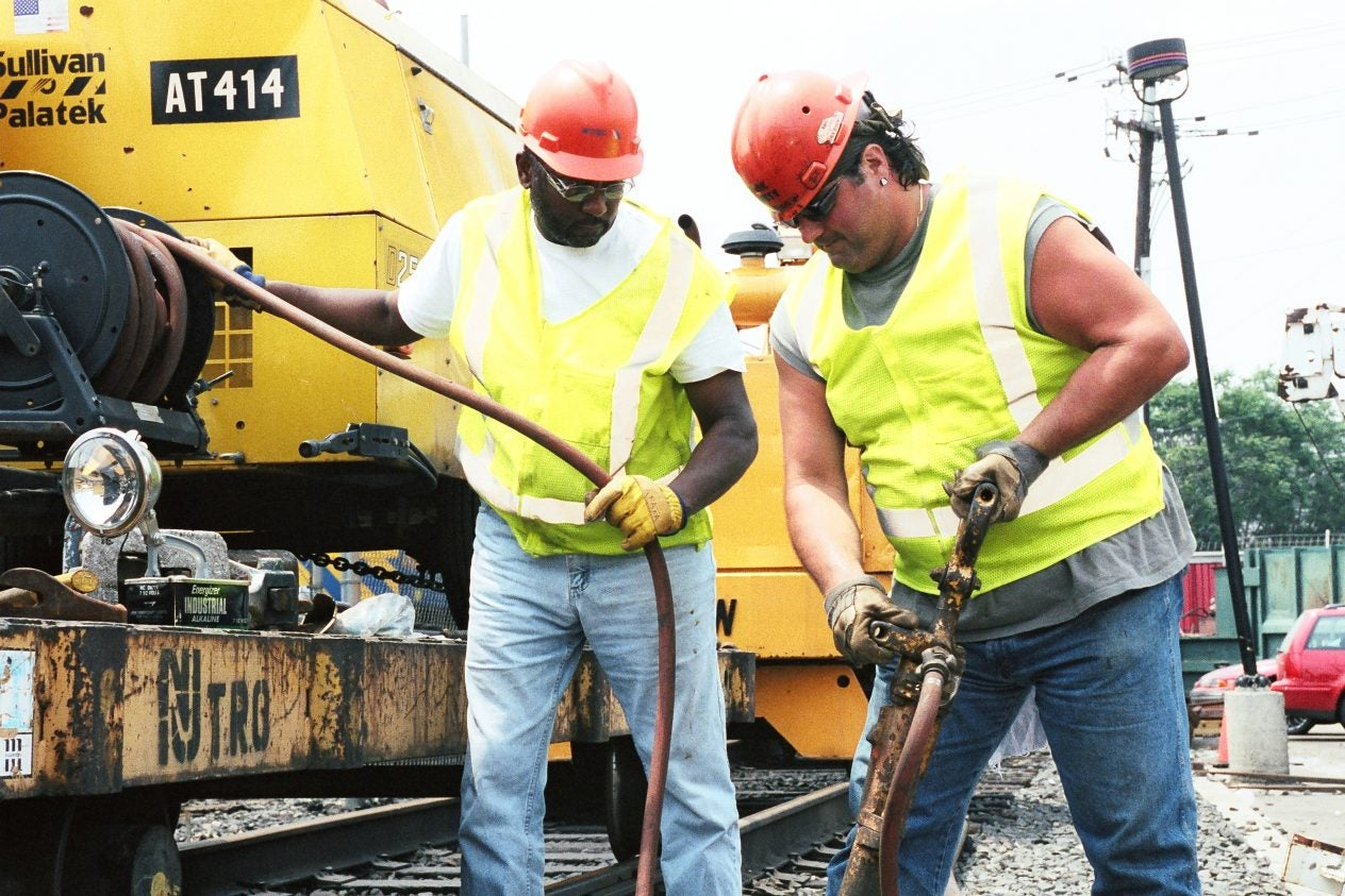 BMWED members from the New Jersey transit system at work - New Jersey